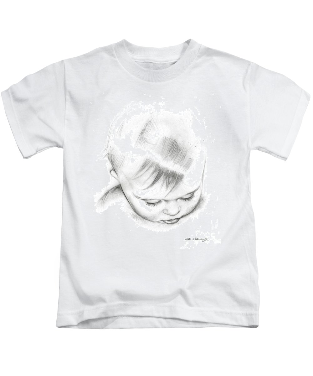 Lin Petershagen Kids T-Shirt featuring the drawing Emmeli by Lin Petershagen