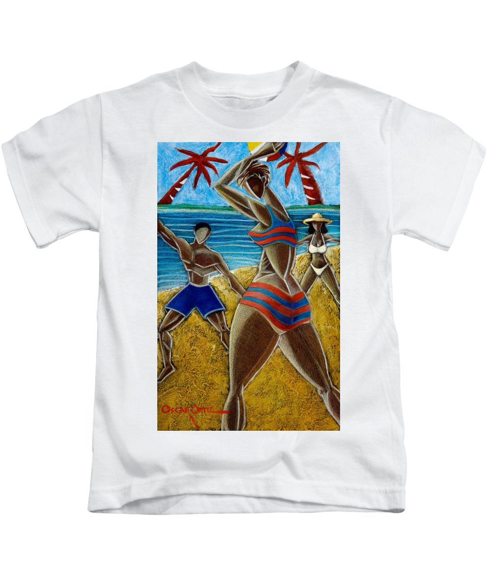 Beach Kids T-Shirt featuring the painting En Luquillo Se Goza by Oscar Ortiz