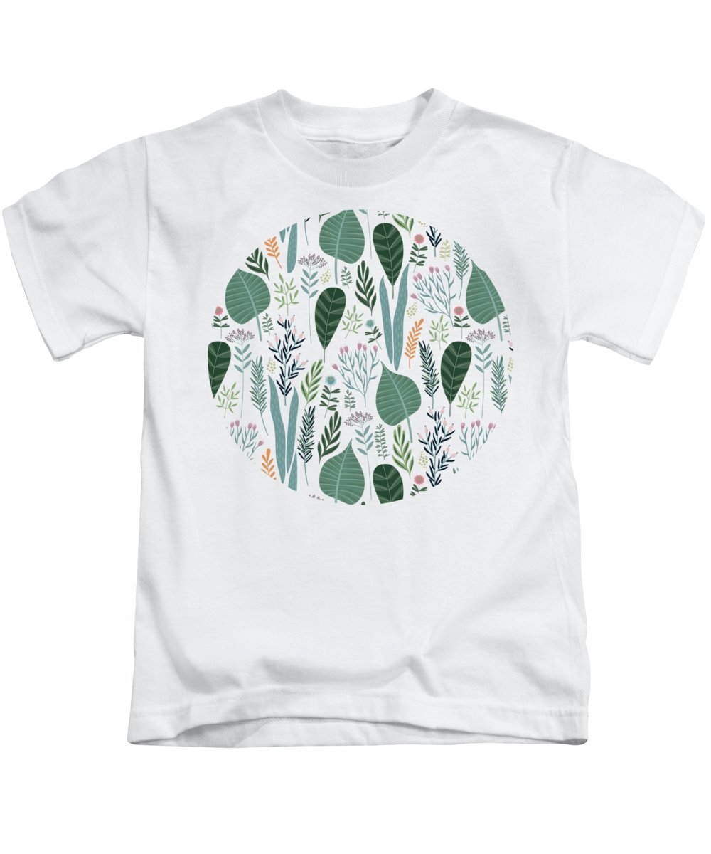 Painting Kids T-Shirt featuring the painting End Of Winter Spring Thaw Garden Pattern by Little Bunny Sunshine