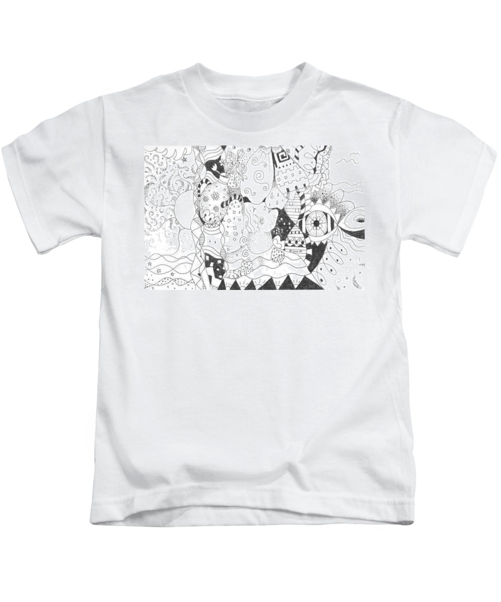 Blessings Kids T-Shirt featuring the drawing Endless Blessings by Helena Tiainen