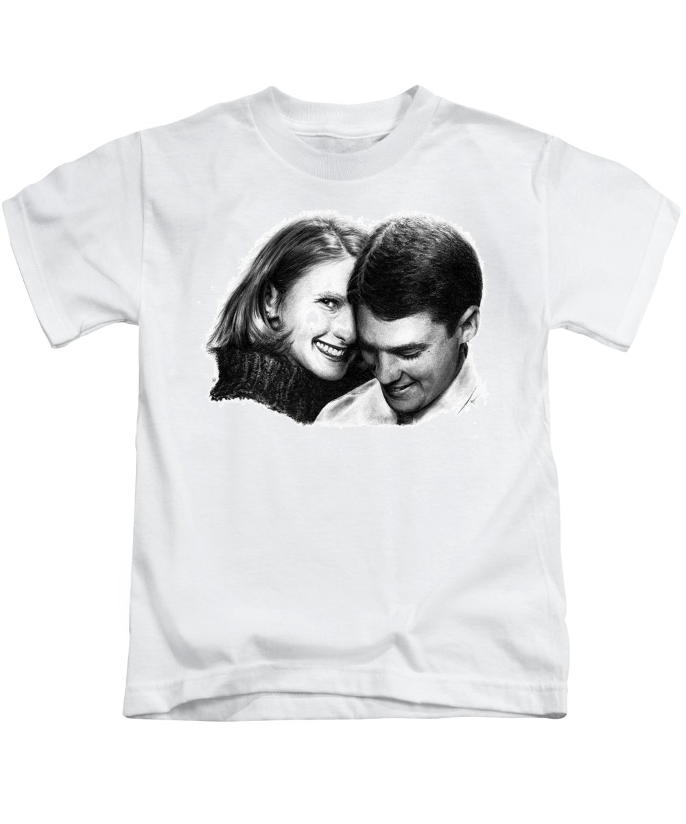 Portrait Kids T-Shirt featuring the drawing Engaged by Rachel Christine Nowicki