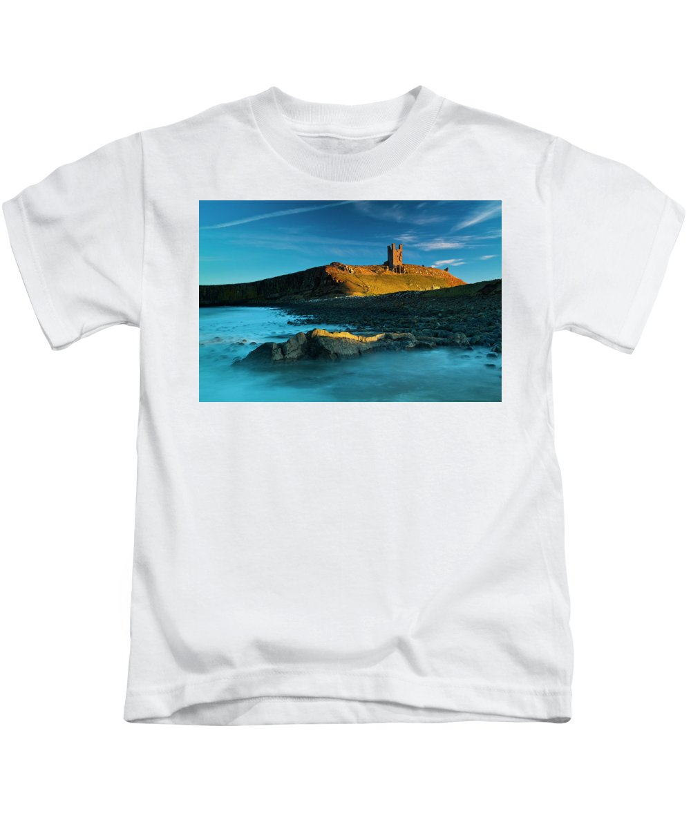 Kids T-Shirt featuring the photograph England, Northumberland, Dunstanburgh Castle by Jason Friend