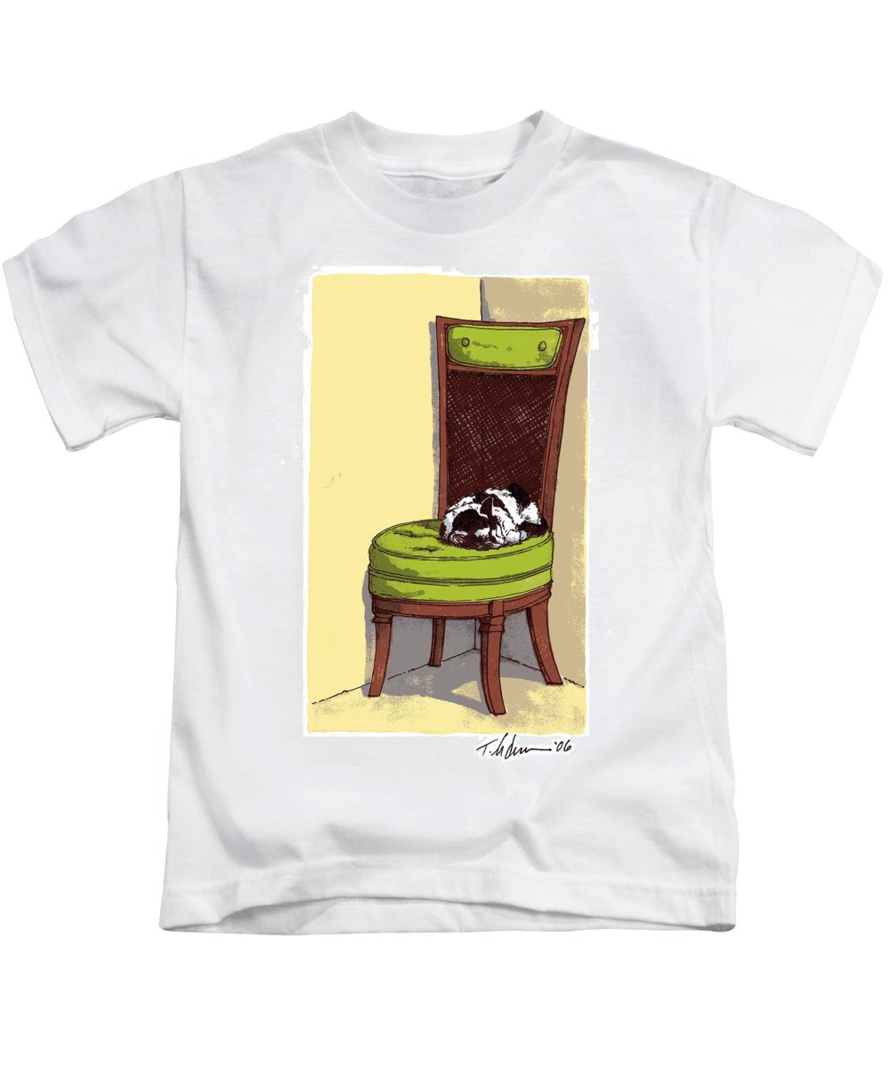 Cat Kids T-Shirt featuring the drawing Ernie And Green Chair by Tobey Anderson