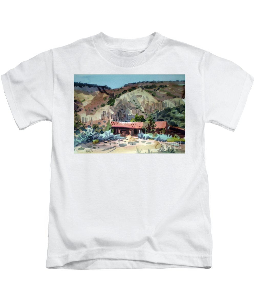 New Mexico Kids T-Shirt featuring the painting Espanola On The Rio Grande by Donald Maier