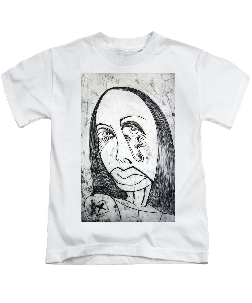 Girl Kids T-Shirt featuring the print Etching by Thomas Valentine