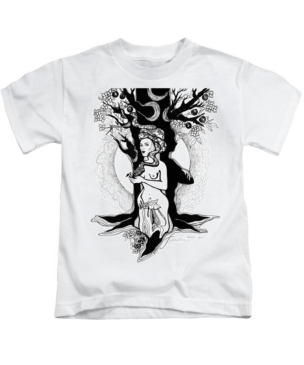 Woman Kids T-Shirt featuring the drawing Eve by Yelena Tylkina