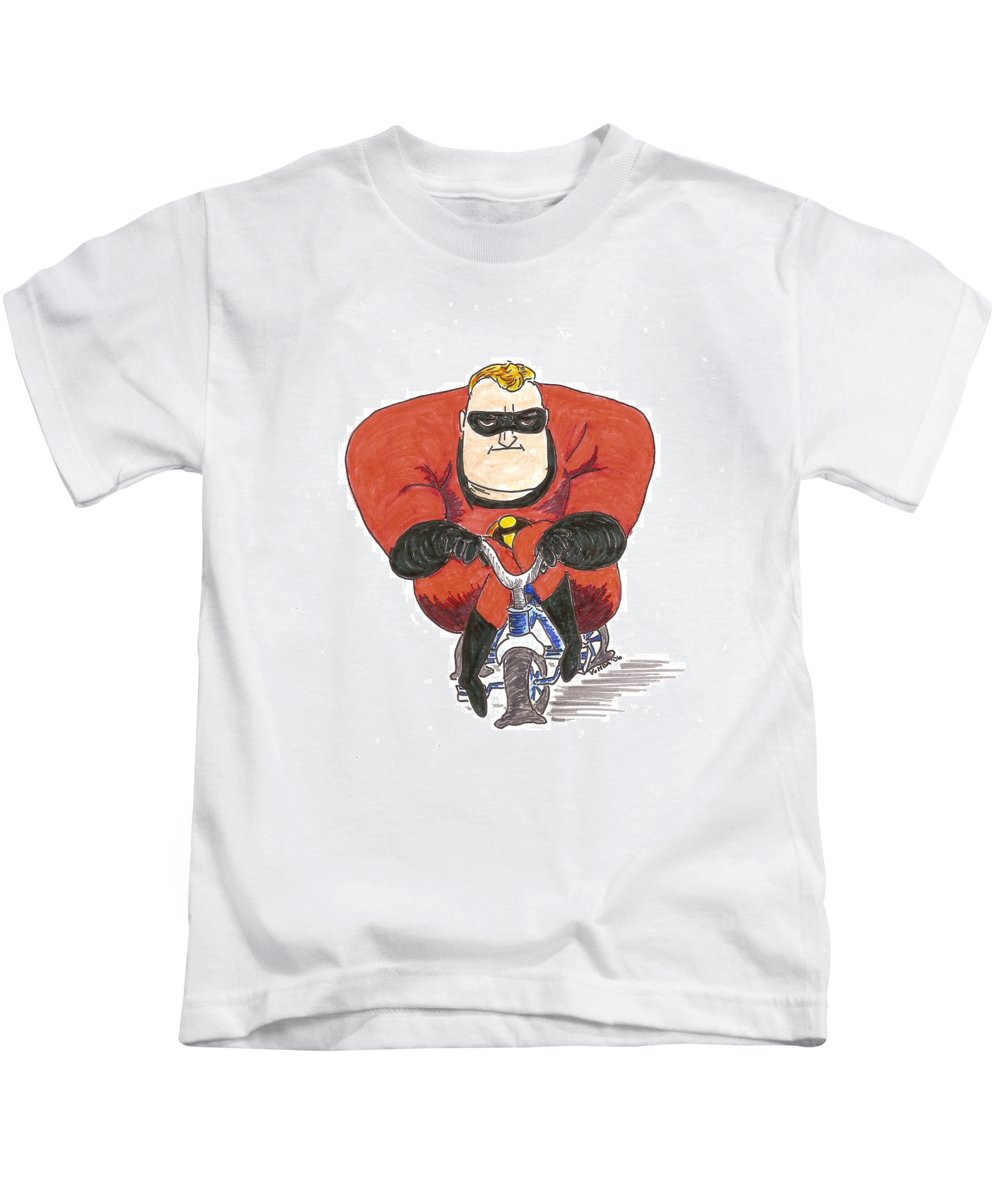 Mr. Incredible Kids T-Shirt featuring the drawing Even Super Heroes Have Bad Days by Vonda Lawson-Rosa