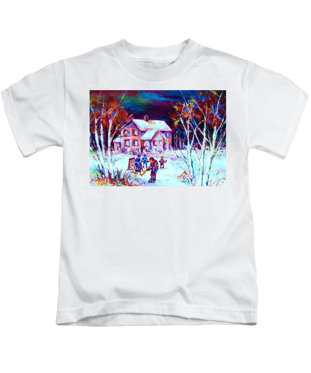 Hockey Game In The Country Kids T-Shirt featuring the painting Evening Game At The Chalet by Carole Spandau