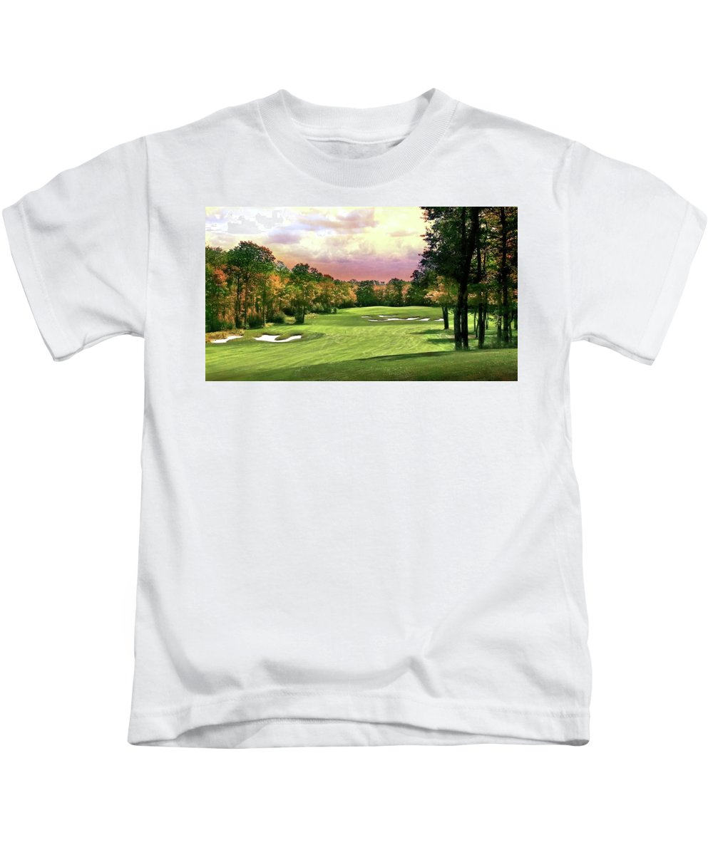 Golf Kids T-Shirt featuring the photograph Evening Golf Course Scene by Michael Forte