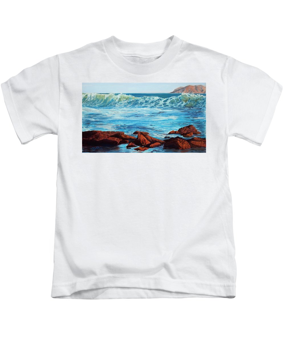 Ocean Kids T-Shirt featuring the painting Evening Waves by Mary Benke