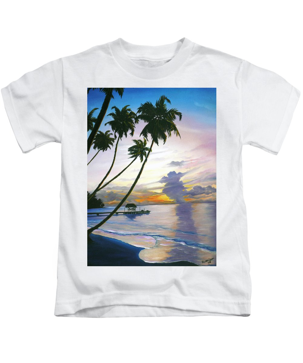 Ocean Painting Seascape Painting Beach Painting Sunset Painting Tropical Painting Tropical Painting Palm Tree Painting Tobago Painting Caribbean Painting Original Oil Of The Sun Setting Over Pigeon Point Tobago Kids T-Shirt featuring the painting Eventide Tobago by Karin Dawn Kelshall- Best