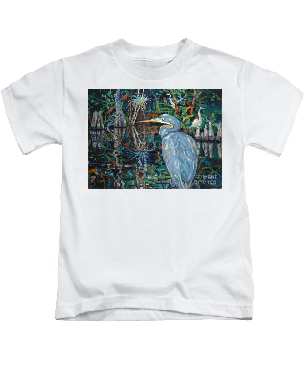 Blue Herron Kids T-Shirt featuring the painting Everglades by Donald Maier