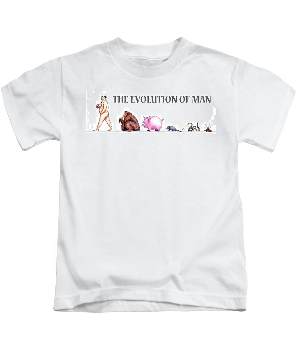 Humor Get Even Kids T-Shirt featuring the drawing Evolution by Bruce Lennon