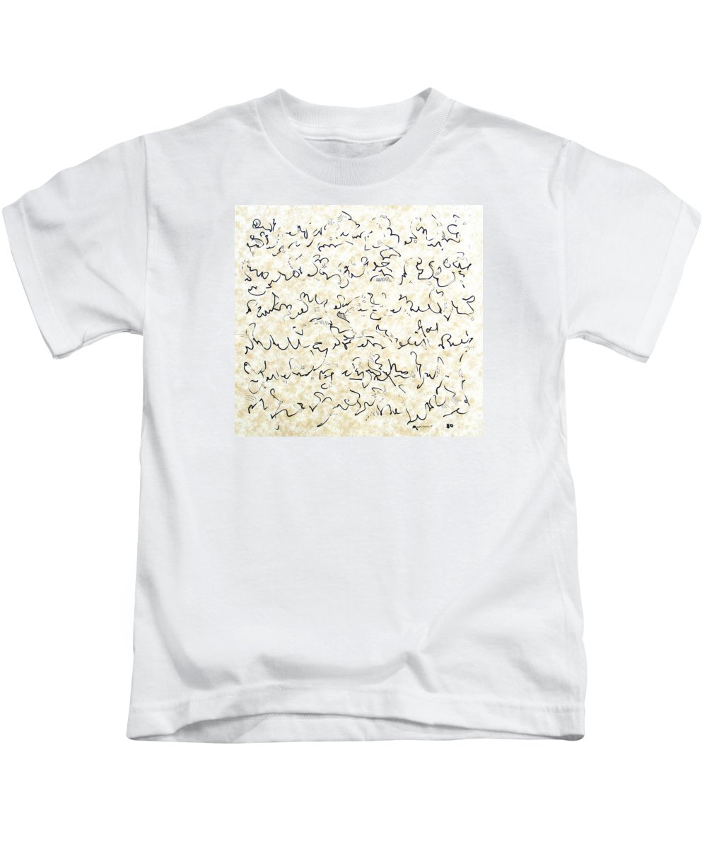 Calligraphy Kids T-Shirt featuring the drawing Executive Summary With Notes by Dave Martsolf