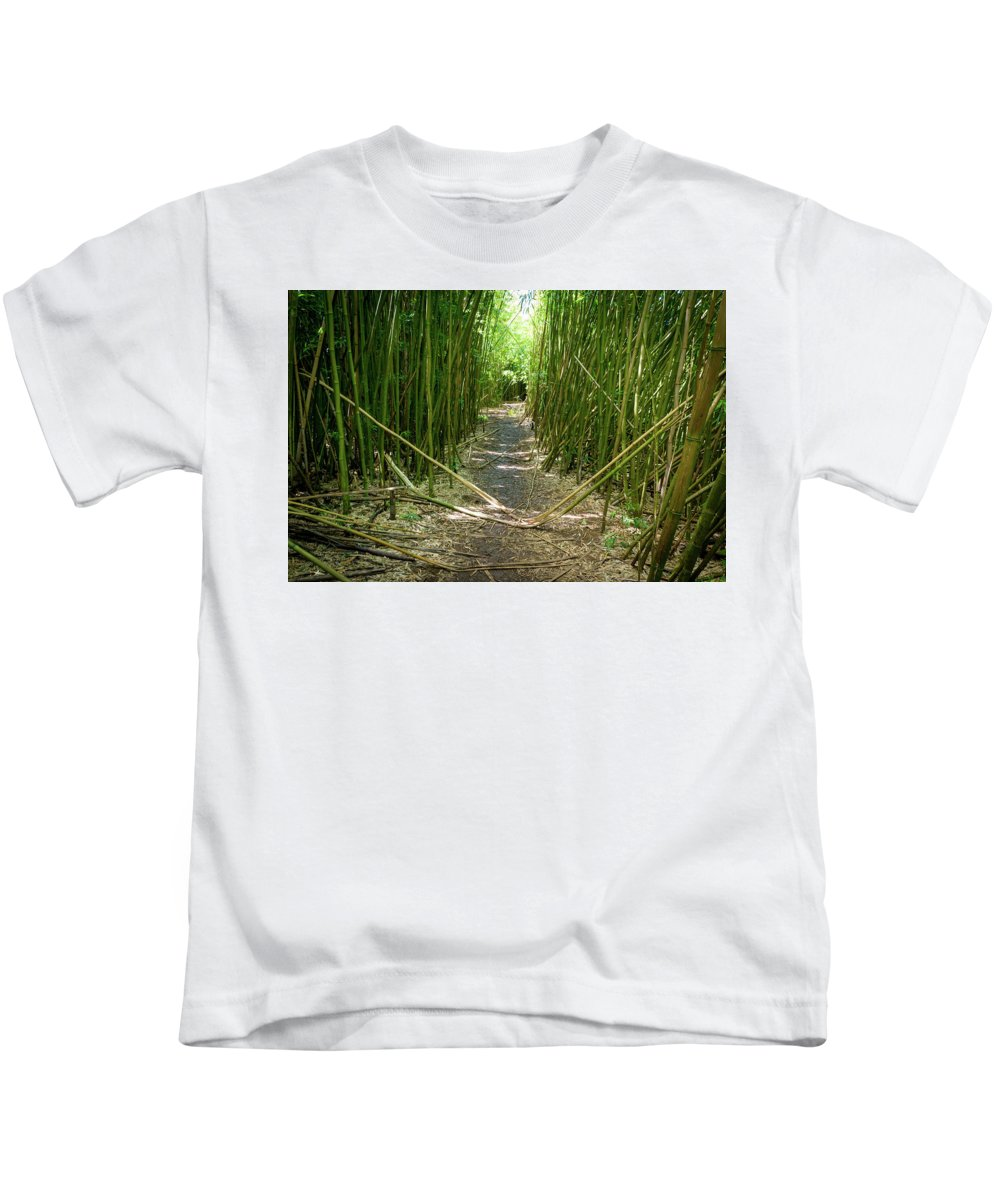 Climate Kids T-Shirt featuring the photograph Exlporing Maui's Bamboo by Cory Huchkowski