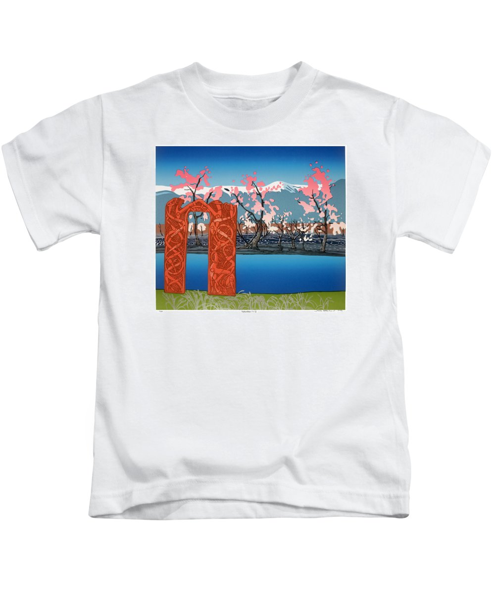 Landscape Kids T-Shirt featuring the mixed media Exploration. by Jarle Rosseland
