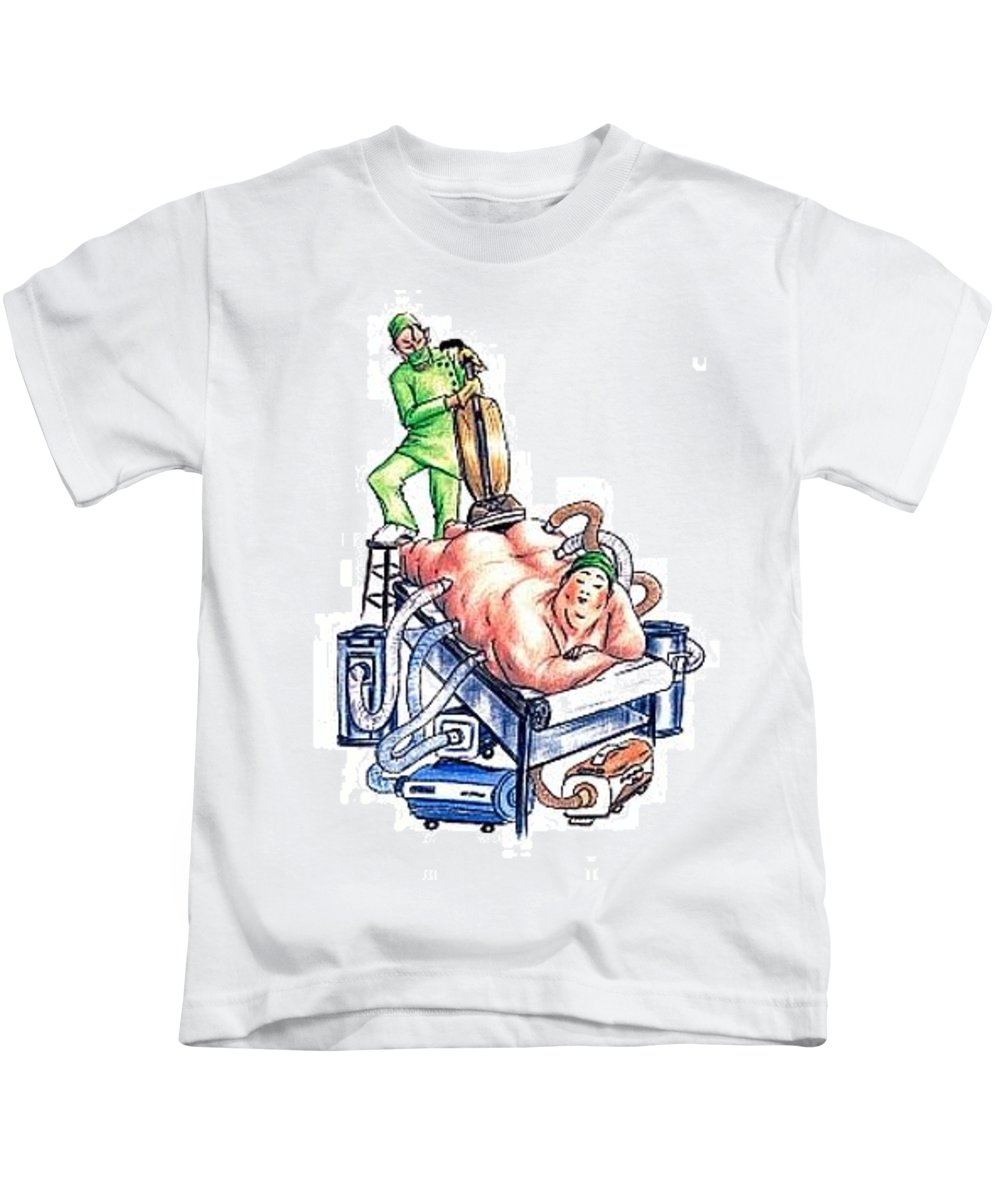 Humor Get Even Kids T-Shirt featuring the drawing Extreme Lipo by Bruce Lennon