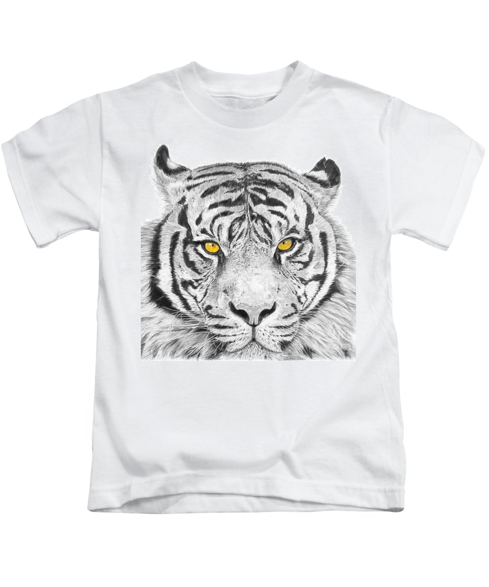 Tiger Kids T-Shirt featuring the drawing Eyes Of The Tiger by Shawn Stallings