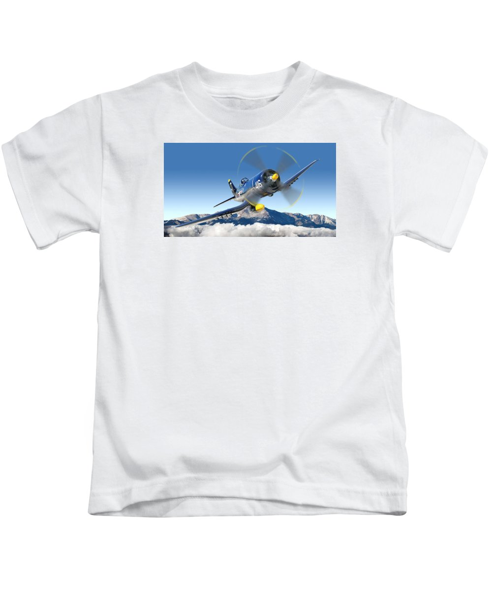 F4-u Corsair Kids T-Shirt featuring the photograph F4-u Corsair by Larry McManus