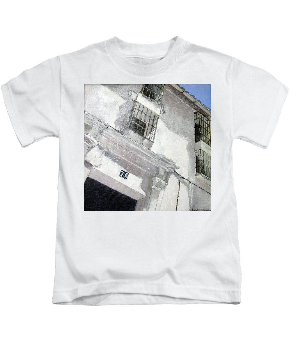 Facades Kids T-Shirt featuring the painting Fachada Andaluza by Tomas Castano