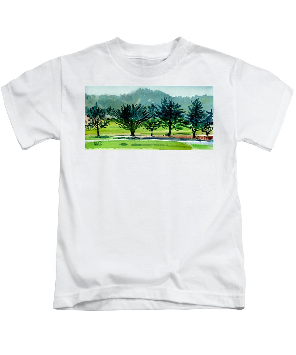 Crystal Springs Kids T-Shirt featuring the painting Fairway Junipers by Donald Maier