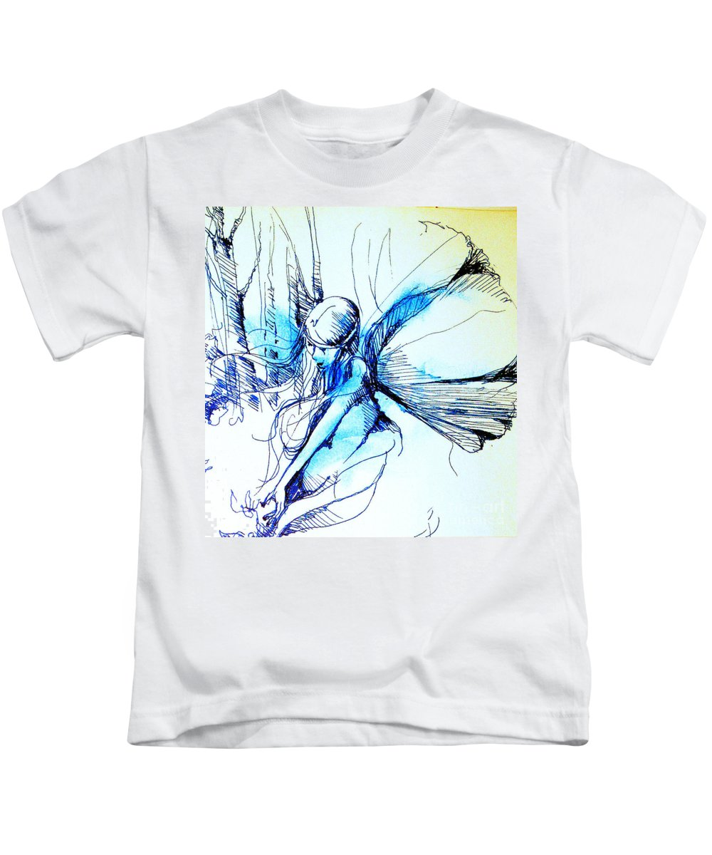 Fairy Kids T-Shirt featuring the drawing Fairy Doodles by Linda Shackelford