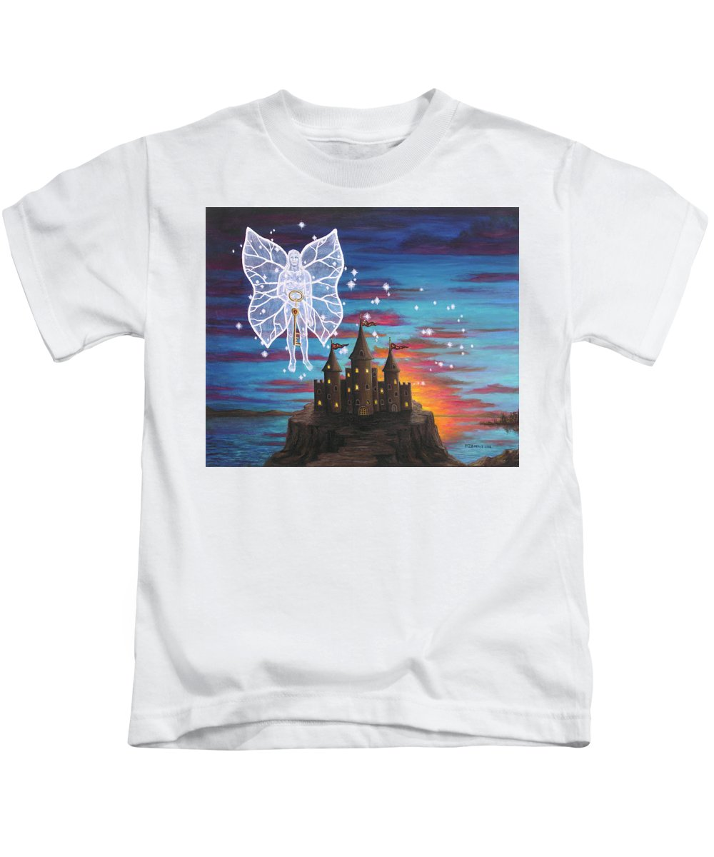 Fantasy Kids T-Shirt featuring the painting Fairy Takes The Key by Roz Eve