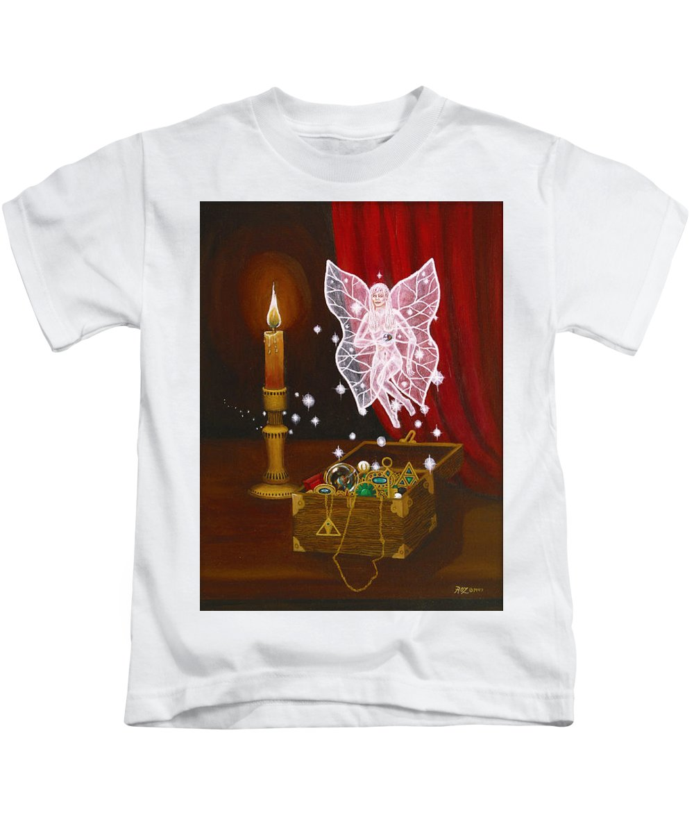 Fairy Kids T-Shirt featuring the painting Fairy Treasure by Roz Eve