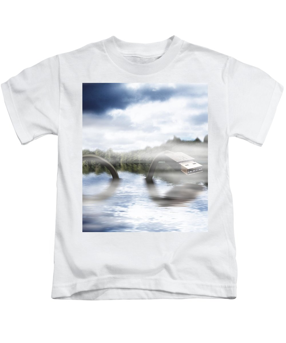 Nessie Kids T-Shirt featuring the mixed media Fake Ness by Gravityx9  Designs