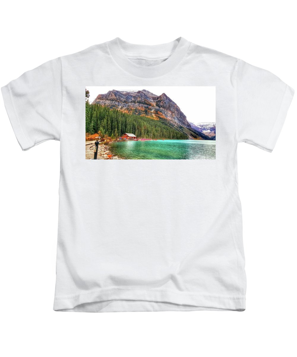 Glacier Kids T-Shirt featuring the photograph Fall Colors At Lake Louise Alberta by Nadia Seme