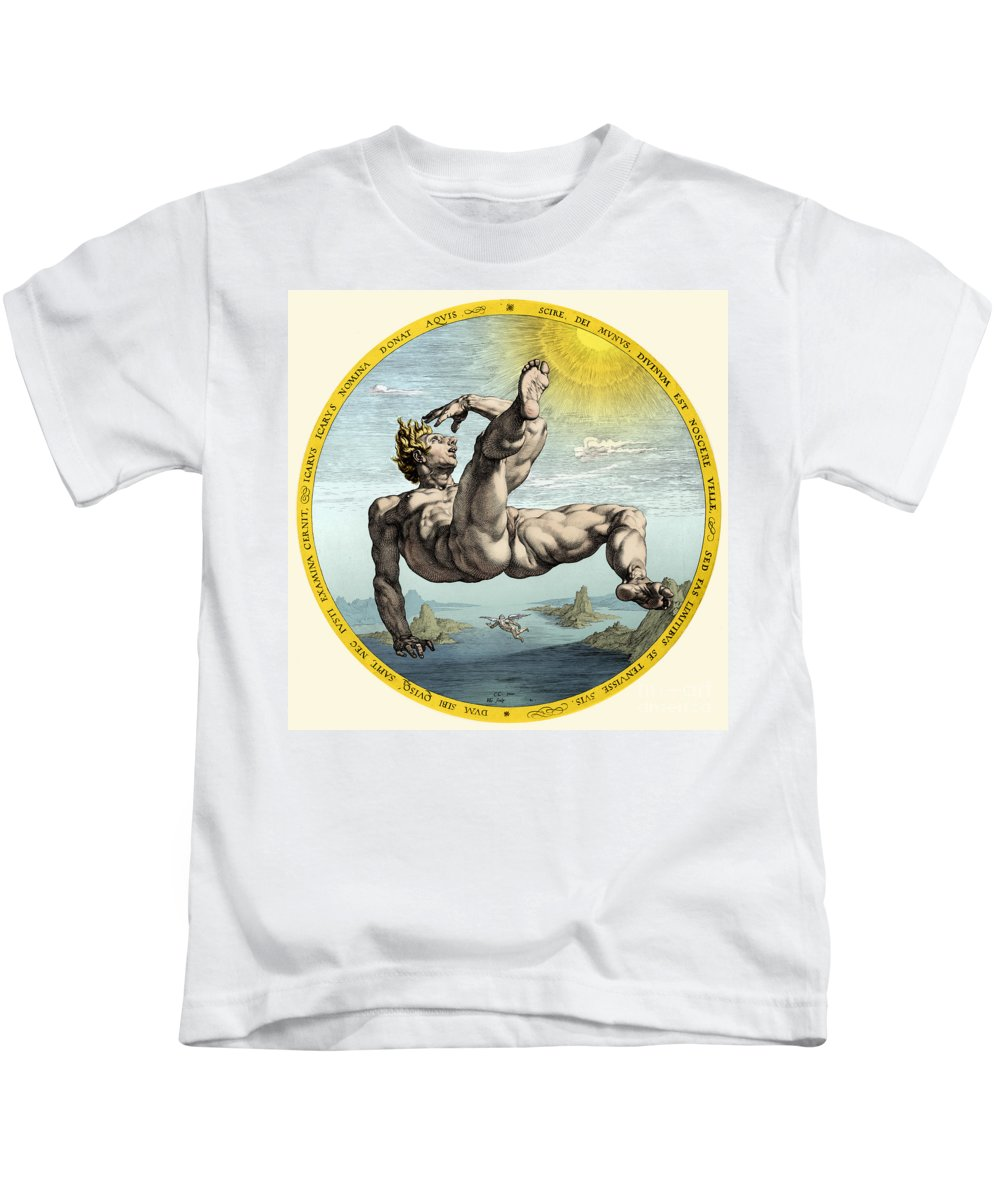 History Kids T-Shirt featuring the photograph Fall Of Icarus, Greek Mythology by Science Source