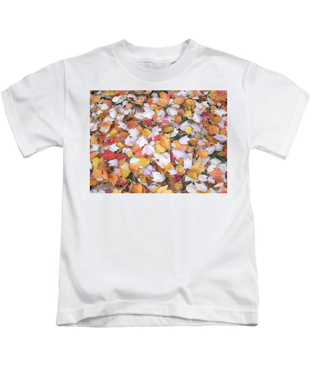 Photography Fall Autum Leaves Kids T-Shirt featuring the photograph Fallen Fantasy by Karin Dawn Kelshall- Best