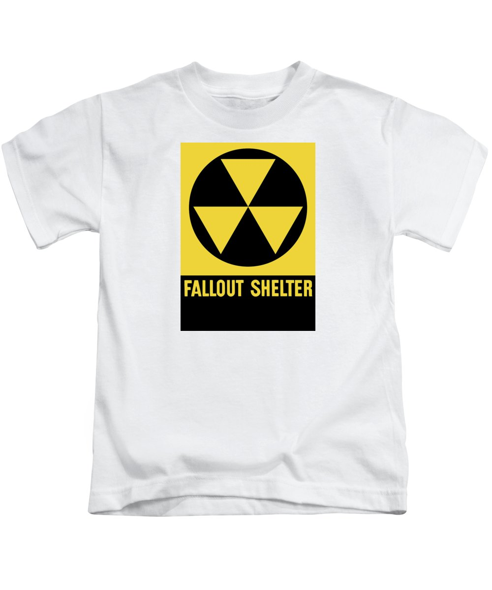 Fallout Shelter Kids T-Shirt featuring the mixed media Fallout Shelter Sign by War Is Hell Store