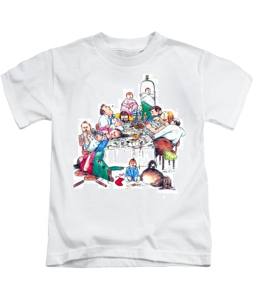 Humor Get Even Kids T-Shirt featuring the drawing Family Dinner by Bruce Lennon