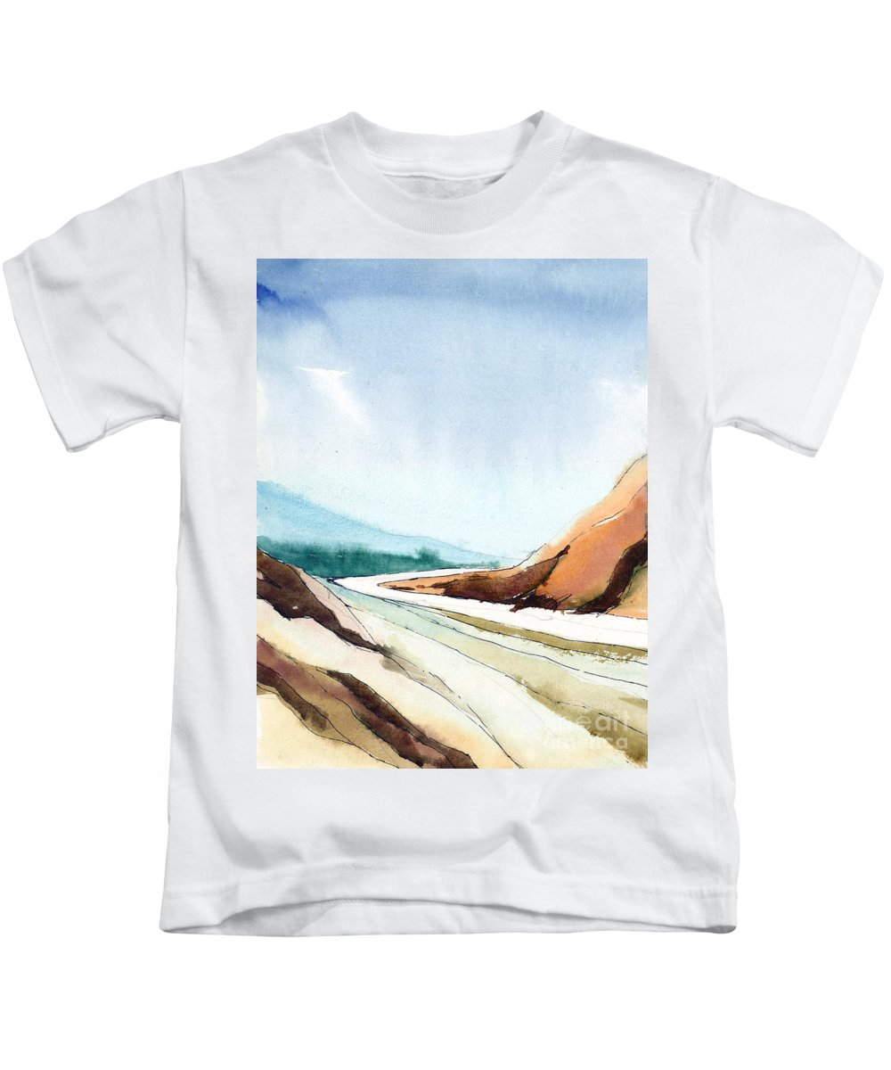 Landscape Kids T-Shirt featuring the painting Far Away by Anil Nene