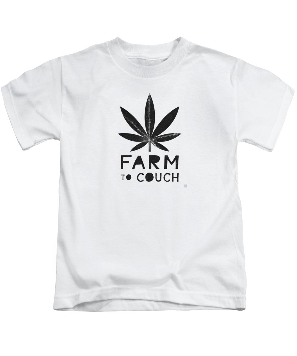 Cannabis Kids T-Shirt featuring the mixed media Farm To Couch Black And White- Cannabis Art By Linda Woods by Linda Woods