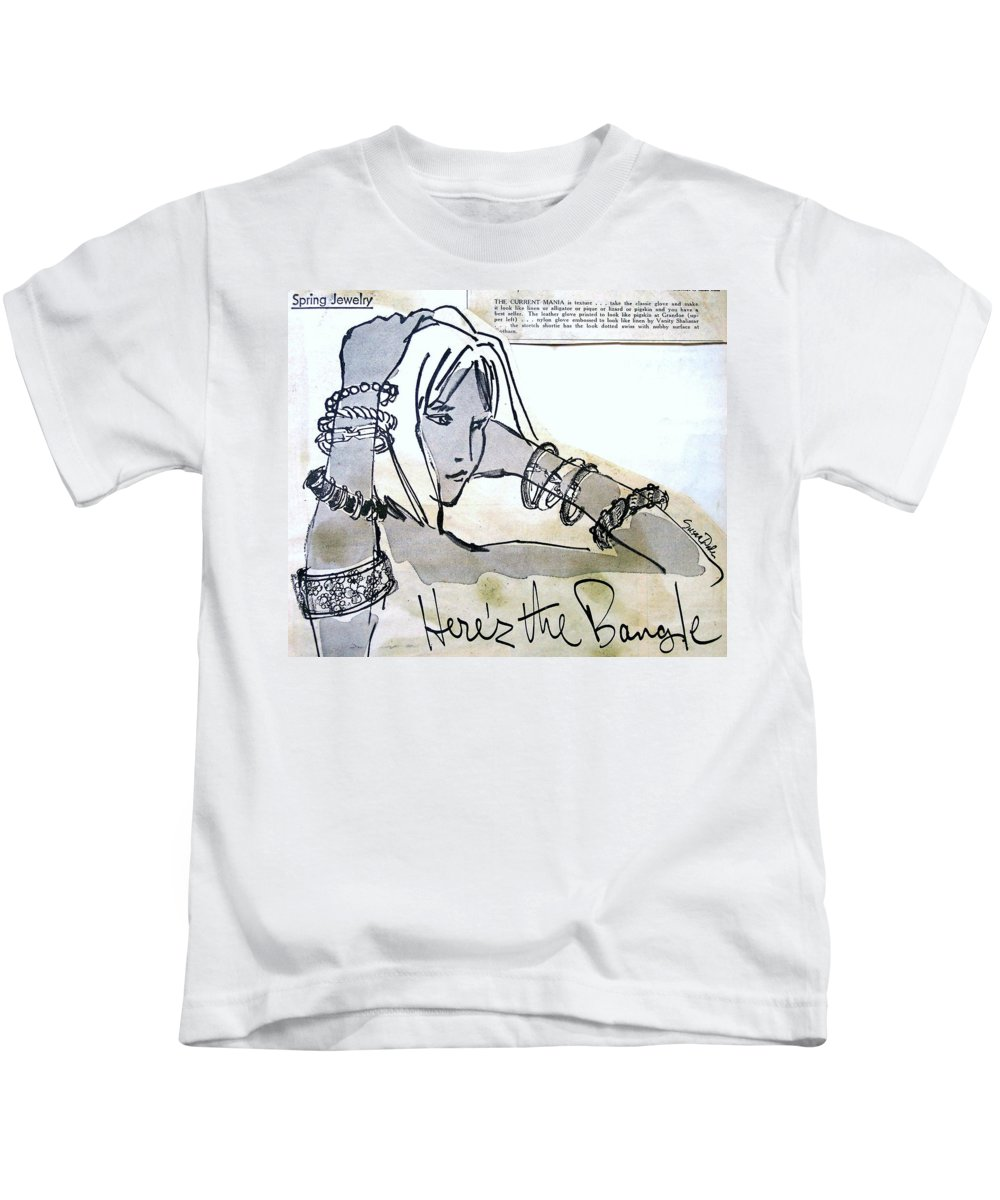 Fashion Illustration Kids T-Shirt featuring the painting Fashion Art by Susan Dade