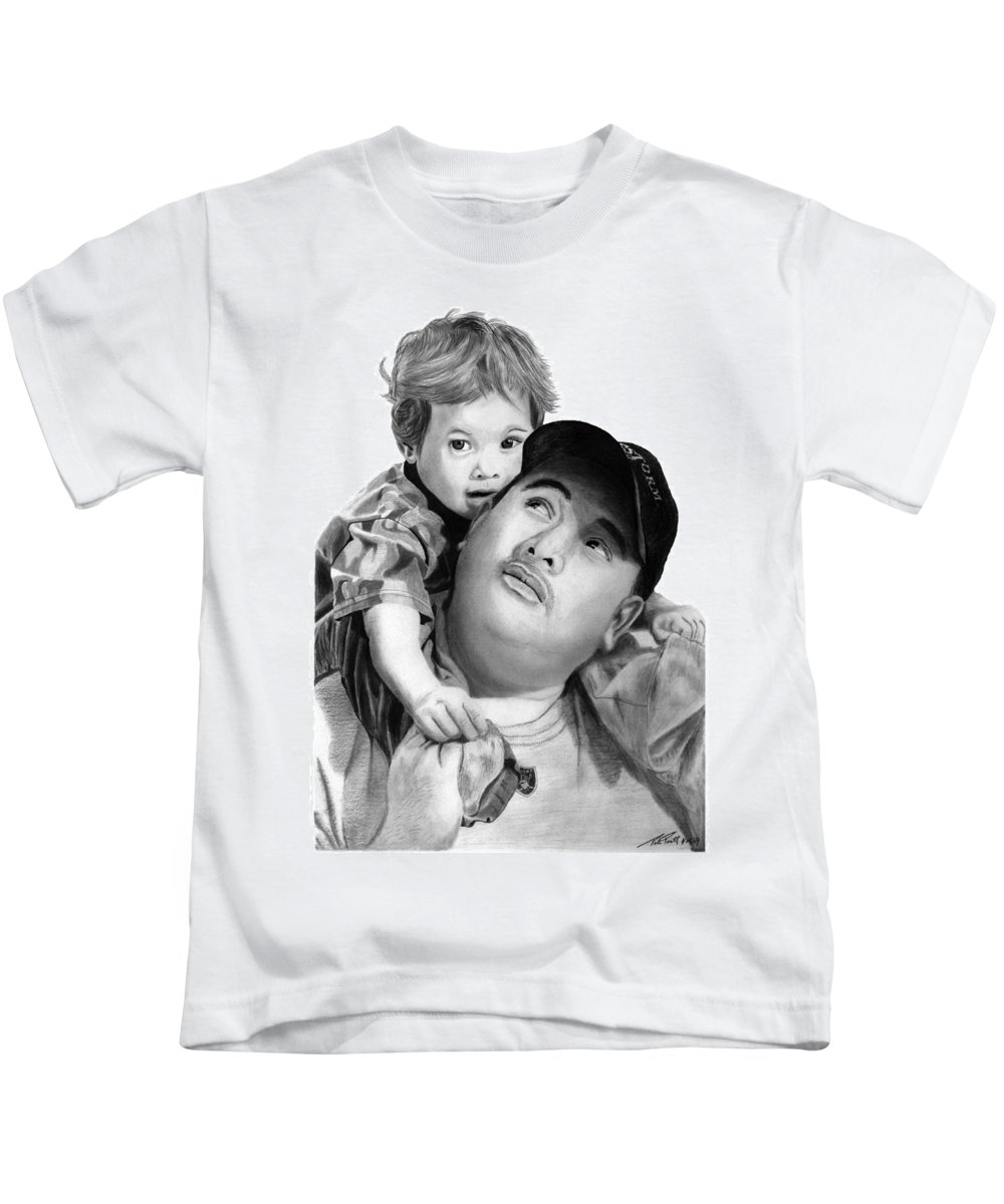 Father And Son Kids T-Shirt featuring the drawing Father And Son by Peter Piatt
