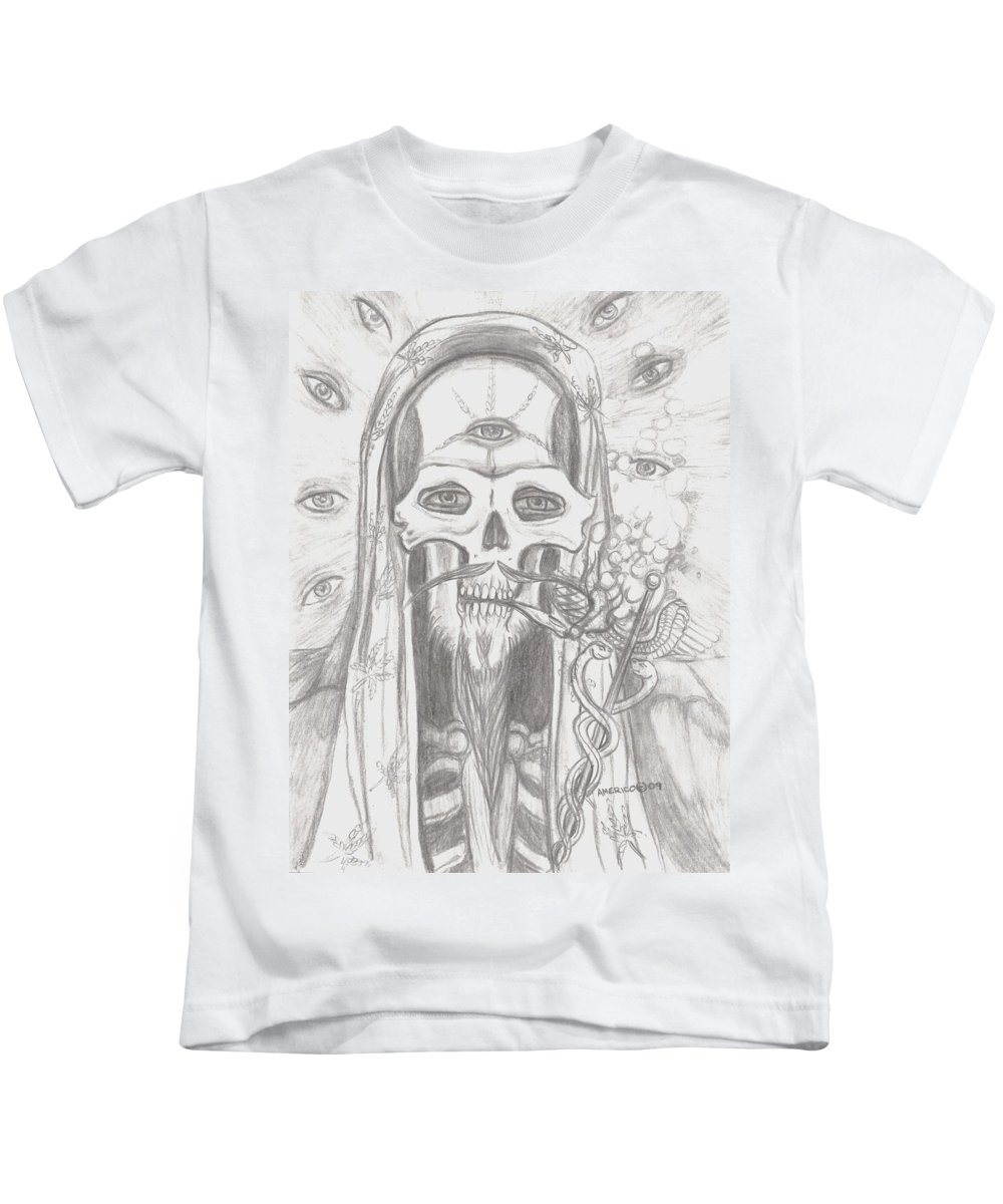 Skeleton.eyes Kids T-Shirt featuring the drawing Father Health And Wisdom by Americo Salazar