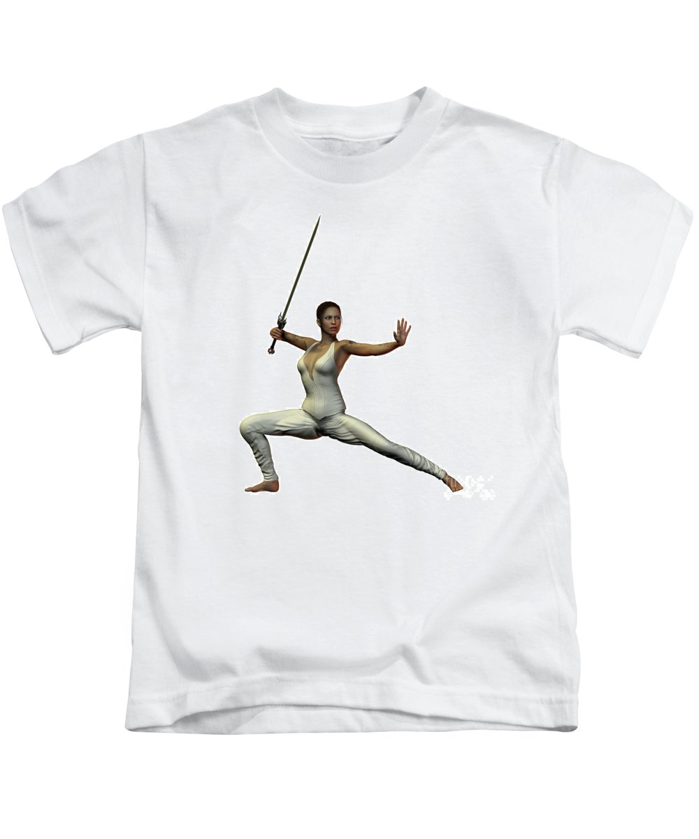 Warrior Kids T-Shirt featuring the painting Female Warroir by Corey Ford