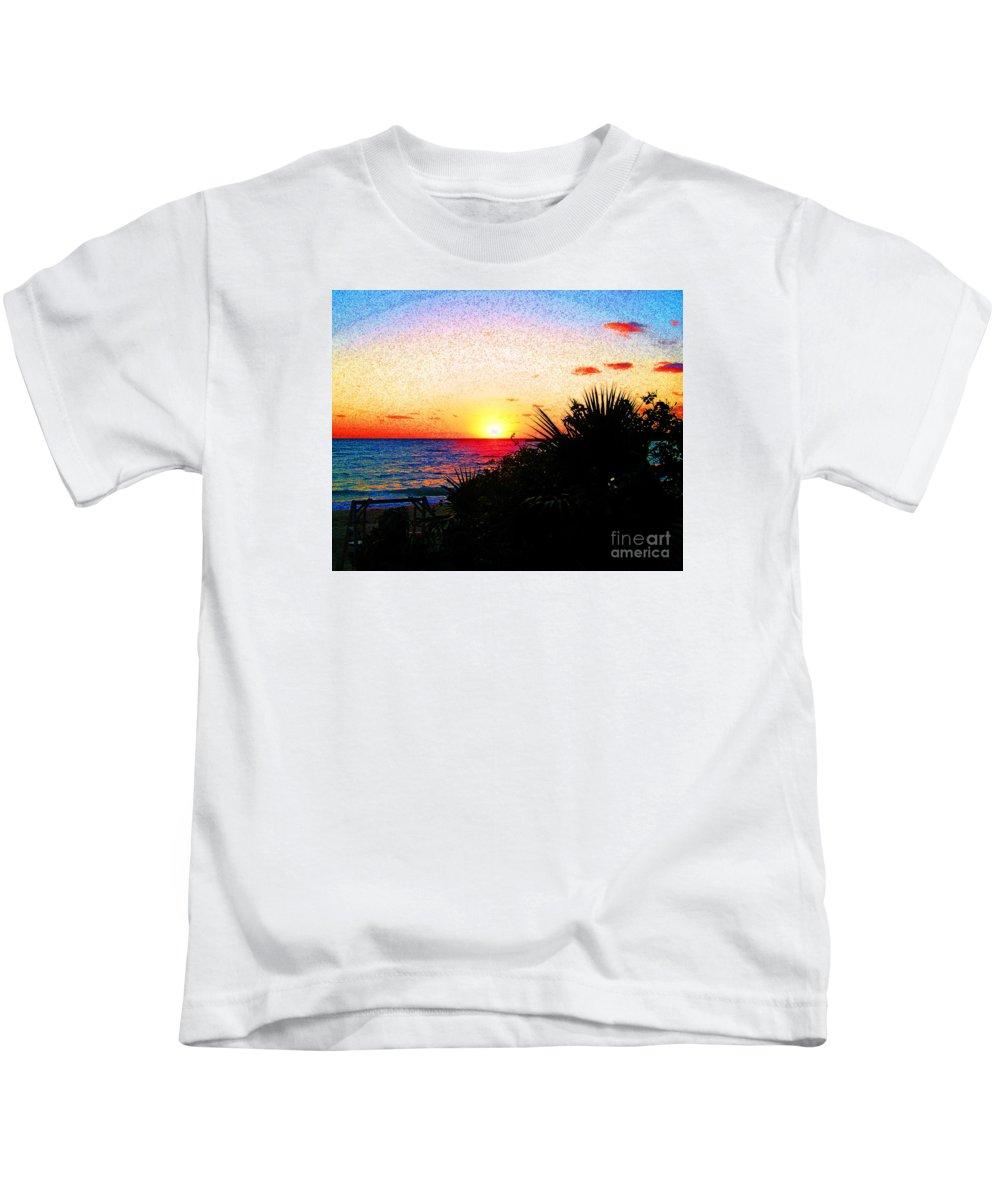 Kids T-Shirt featuring the digital art Fernandez Bay Sunset by Joseph Re