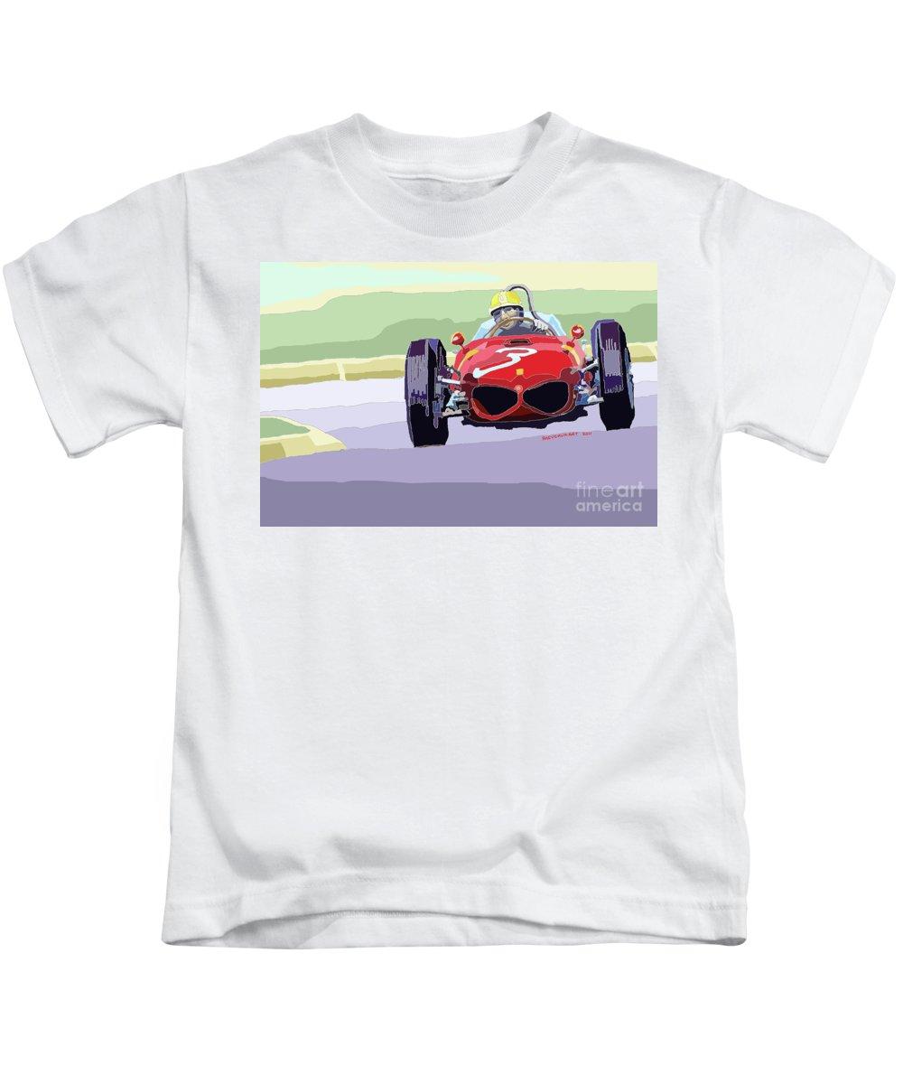 Automotive Kids T-Shirt featuring the digital art Ferrari 156 Dino 1962 Dutch Gp by Yuriy Shevchuk