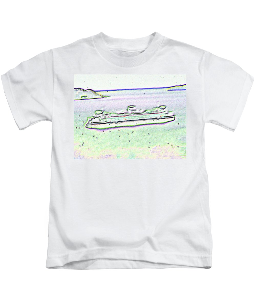Seattle Kids T-Shirt featuring the photograph Ferry In The Rain by Tim Allen