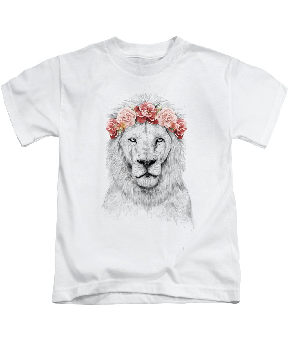 ebc468d0e Lion Kids T-Shirt featuring the drawing Festival Lion by Balazs Solti