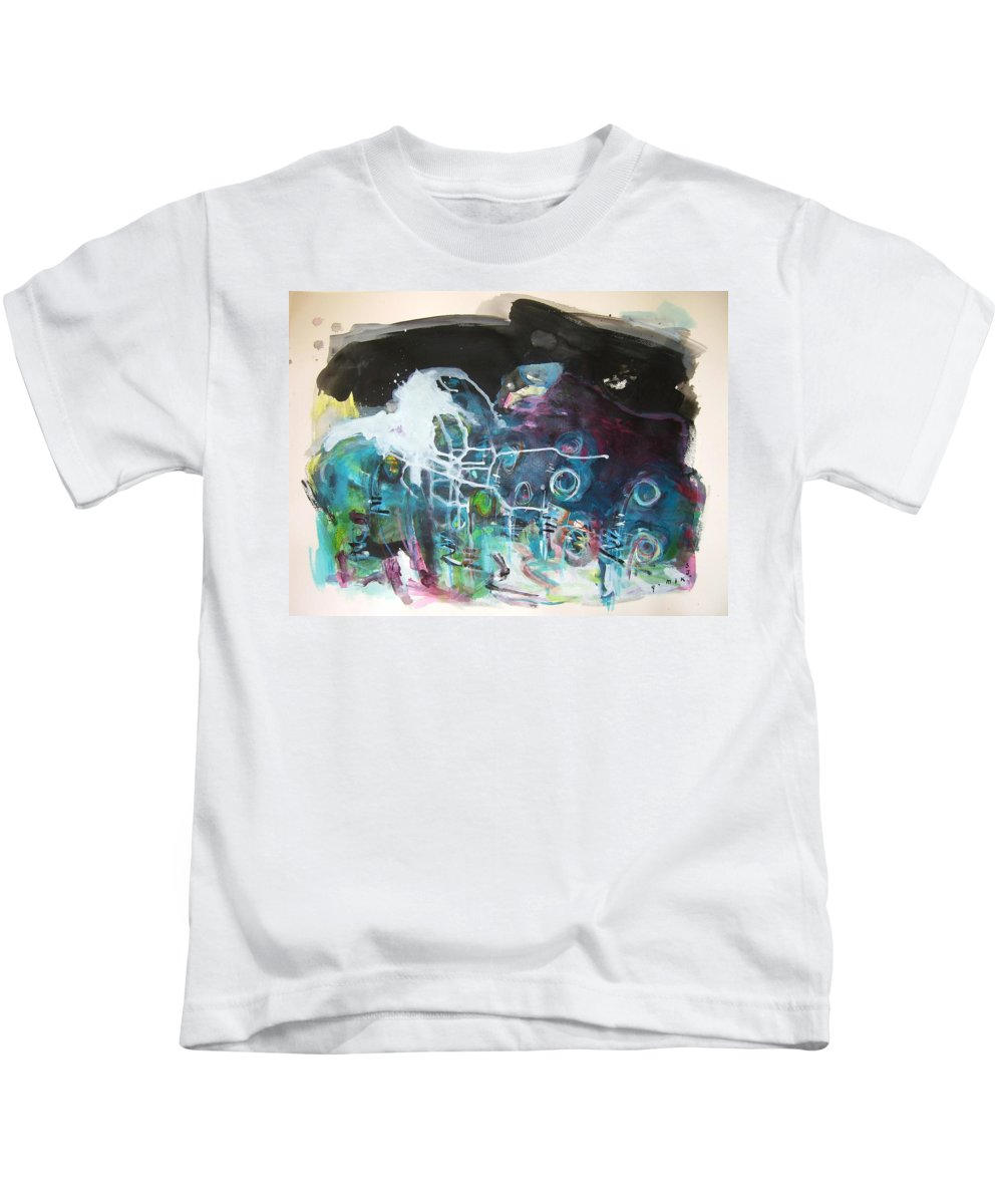 Fiddleheads Paintings Kids T-Shirt featuring the painting Fiddleheads 300 by Seon-Jeong Kim