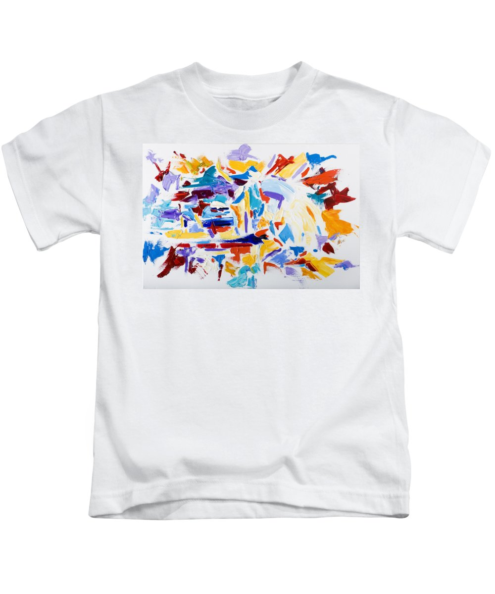 Abstract Yellow Kids T-Shirt featuring the painting Fiesta by Shannon Grissom
