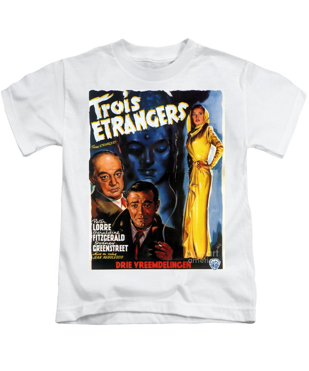 Film Noir Poster Kids T-Shirt featuring the painting Film Noir Poster Three Strangers by R Muirhead Art