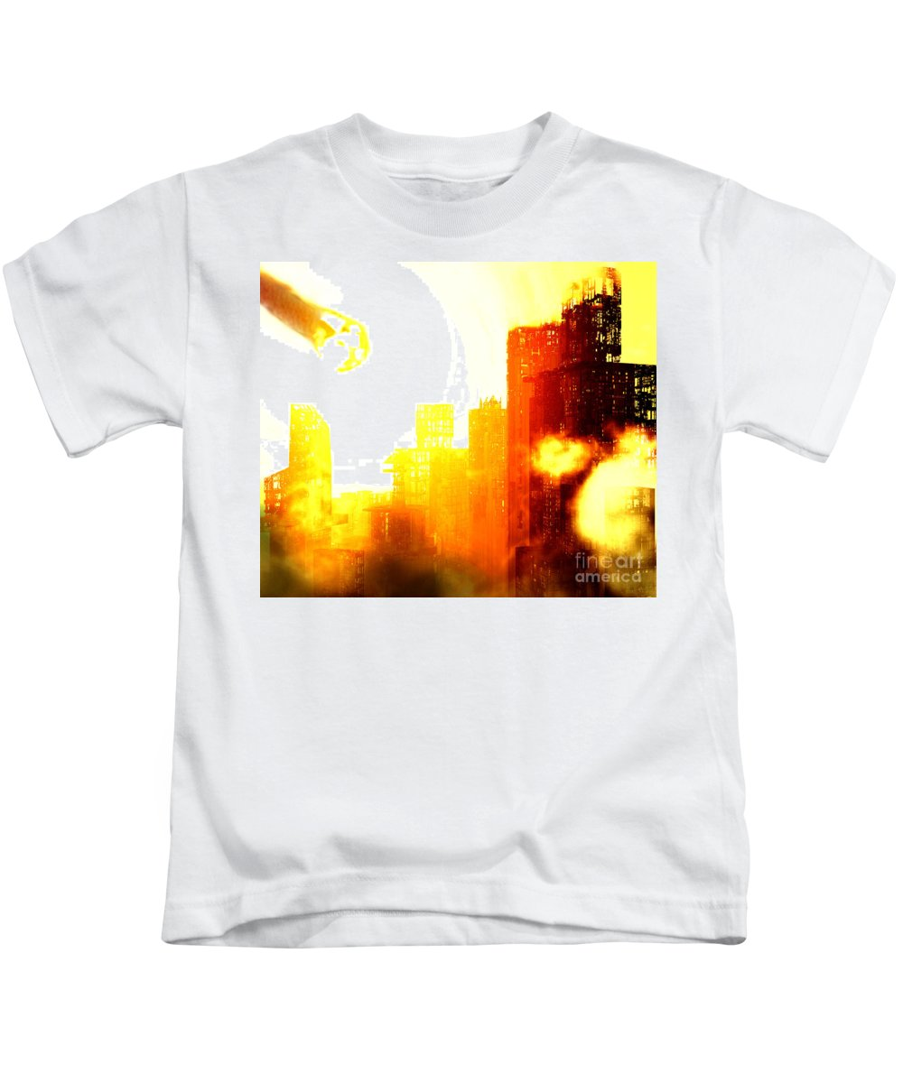 Meteor Showe Kids T-Shirt featuring the digital art Final Strike by Richard Rizzo