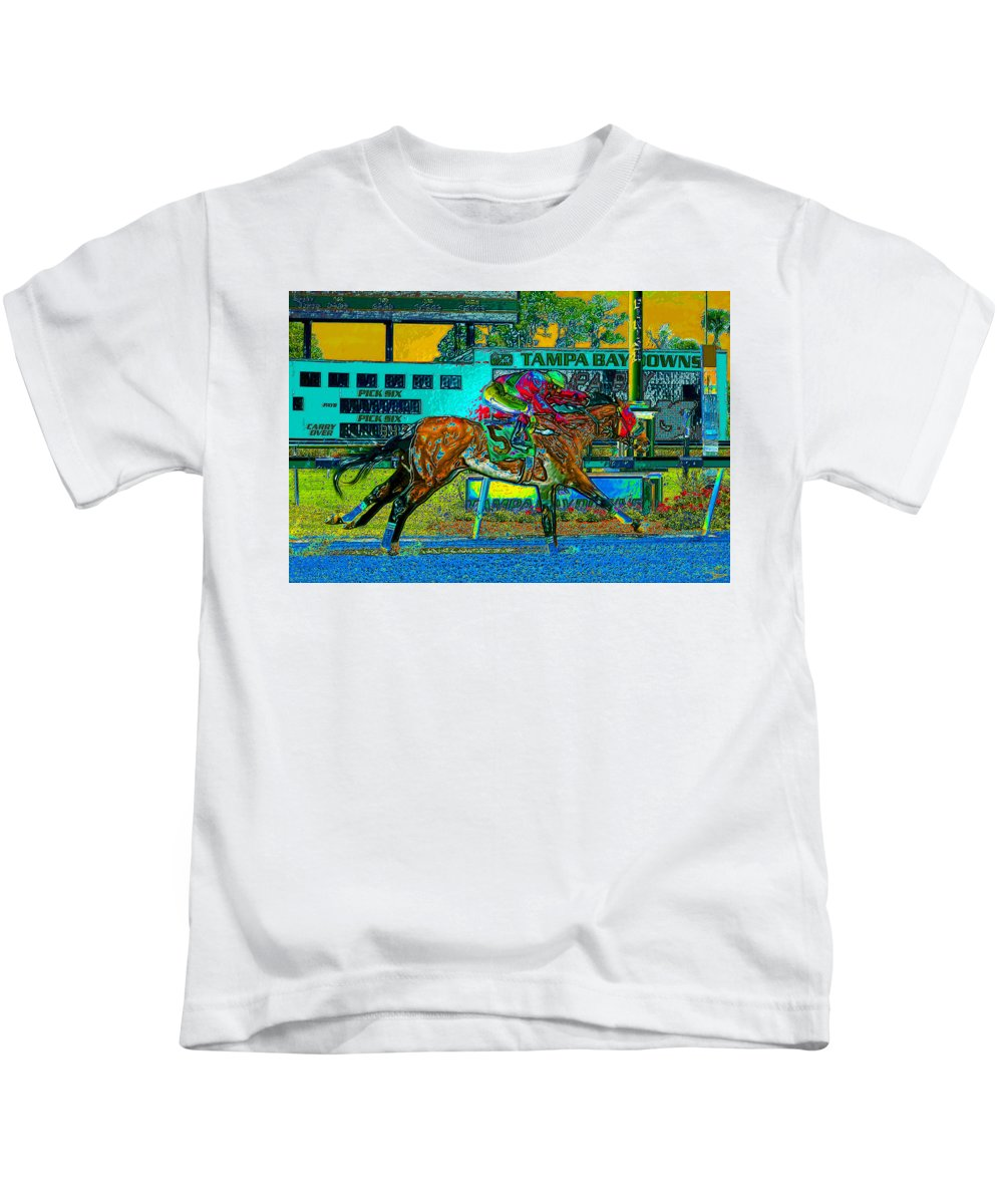 Art Kids T-Shirt featuring the painting Finish Line by David Lee Thompson
