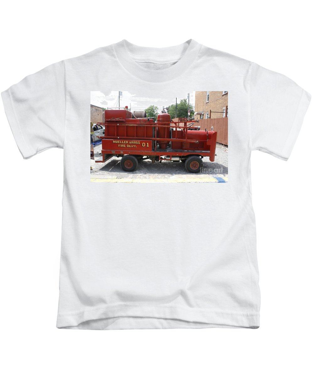 Fire Engine Kids T-Shirt featuring the photograph Fire Engine Of Older Years by Adam Schneider